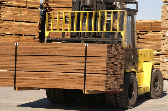 hardwood lumber on forklift