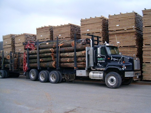 logtruck and lumber